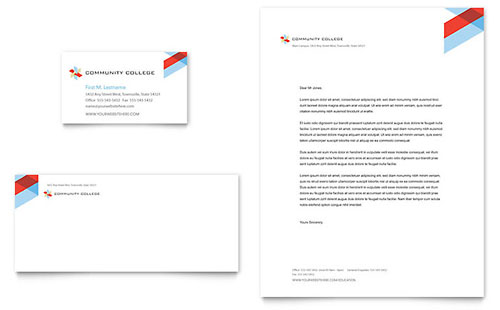 Community College Business Card & Letterhead Template - Microsoft Office