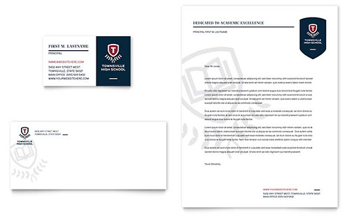 High School Business Card & Letterhead Template - Microsoft Office