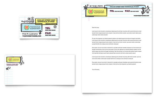 Elementary School Business Card & Letterhead Template - Word & Publisher
