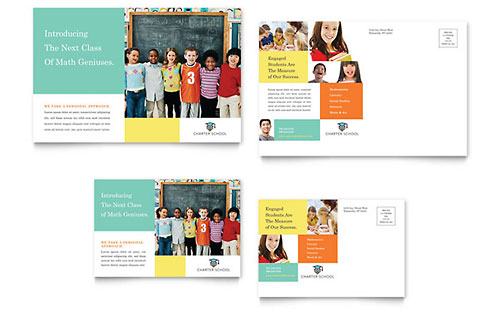 Charter School Postcard Template - Word & Publisher