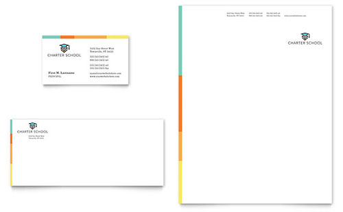 Charter School Business Card & Letterhead Template - Microsoft Office