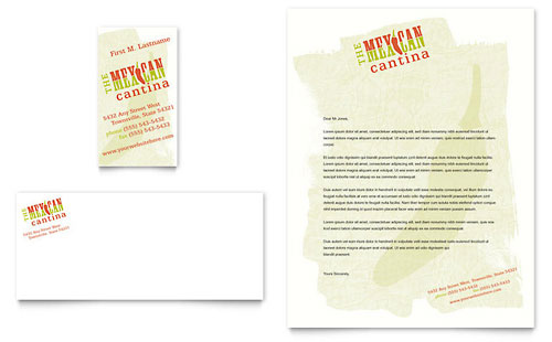 Mexican Restaurant Business Card & Letterhead Template - Microsoft Office