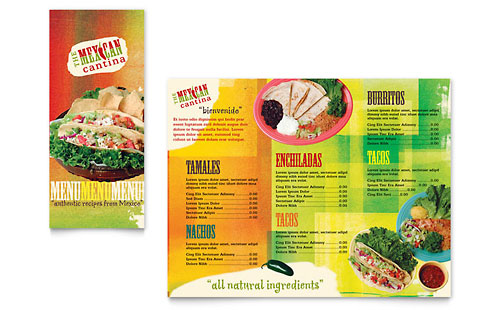 Mexican Restaurant Take-out Brochure Template - Microsoft Office