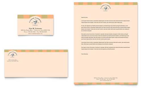 Catering Company Business Card & Letterhead Template - Microsoft Office