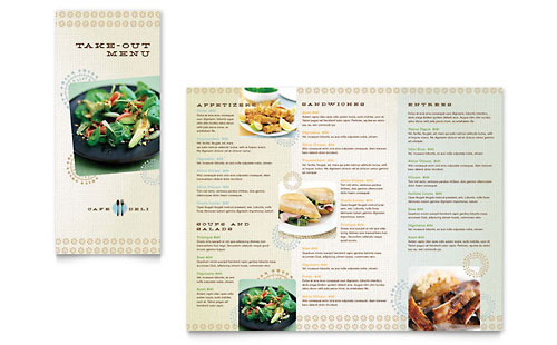 Cafe deli take out brochure template word publisher for Menu brochure template word