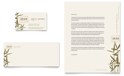 Asian Restaurant Business Card & Letterhead Template - Microsoft Office