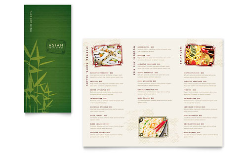 Asian Restaurant Take-out Brochure Template Design
