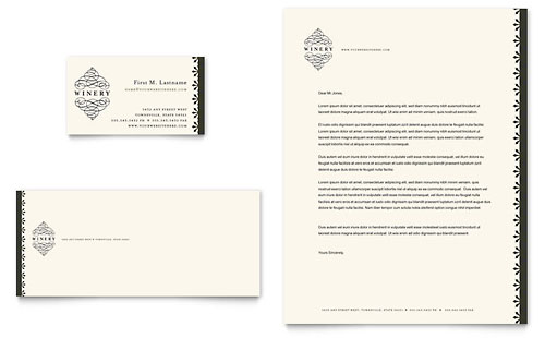 Vineyard & Winery Business Card & Letterhead Template - Microsoft Office