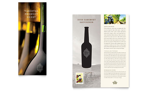 Vineyard & Winery Datasheet Template Design