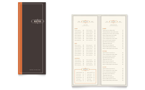 A4 menu templates word publisher templates for Menu brochure template word