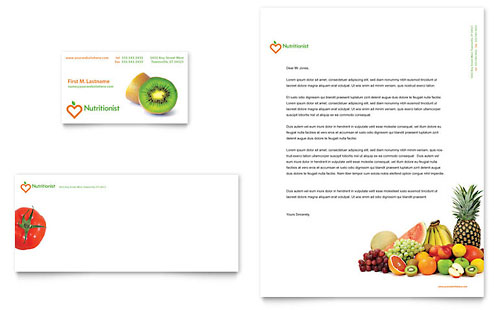 Nutritionist & Dietitian Business Card & Letterhead Template - Microsoft Office