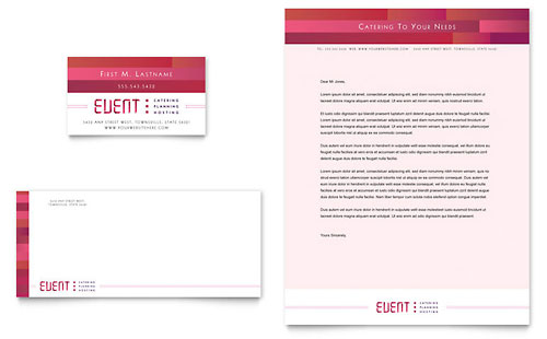 Corporate Event Planner & Caterer Business Card & Letterhead Template - Microsoft Office