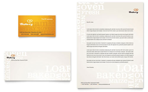 Artisan Bakery Business Card & Letterhead Template - Microsoft Office