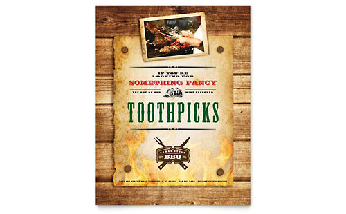 Steakhouse BBQ Restaurant Flyer Template