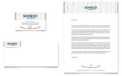 Seafood Restaurant Business Card & Letterhead Template - Microsoft Office