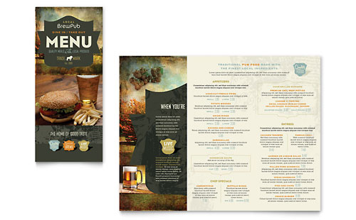 Brewery & Brew Pub Take-out Brochure Template - Microsoft Office