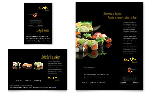 Sushi Restaurant Flyer & Ad Template - Microsoft Office