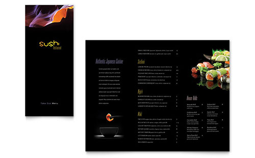 Sushi Restaurant Take-out Brochure Template - Microsoft Office