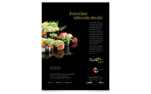 Sushi Restaurant Flyer Template - Microsoft Office