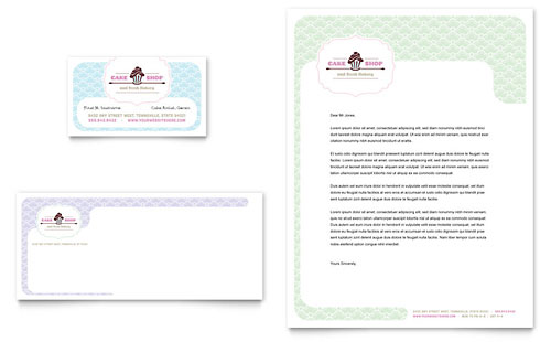 Bakery & Cupcake Shop Business Card & Letterhead Template - Microsoft Office