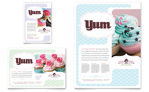 Bakery & Cupcake Shop Flyer & Ad Template Design