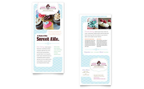 Bakery & Cupcake Shop Rack Card Template - Microsoft Office