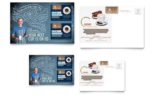 Coffee Shop Postcard Template - Microsoft Office