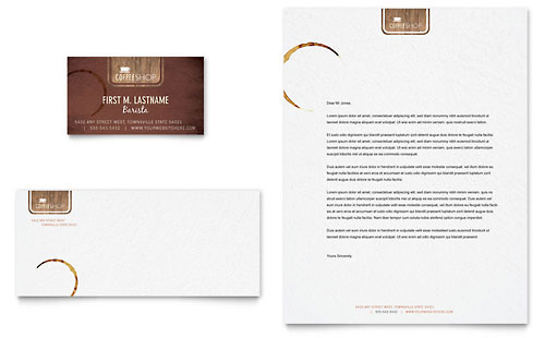 Coffee Shop Business Card & Letterhead Template - Microsoft Office