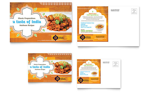 Indian Restaurant Postcard Template - Microsoft Office