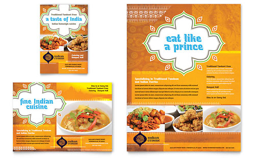 Indian Restaurant Flyer & Ad Template - Microsoft Office