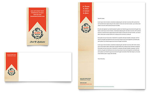 Culinary School Business Card & Letterhead Template - Microsoft Office