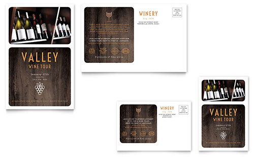 Winery Postcard Template - Word & Publisher