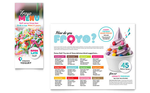 Frozen Yogurt Shop Take-out Brochure Template - Microsoft Office