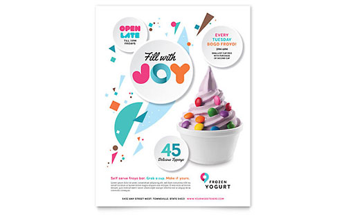 Frozen Yogurt Shop Flyer & Ad Template - Word & Publisher