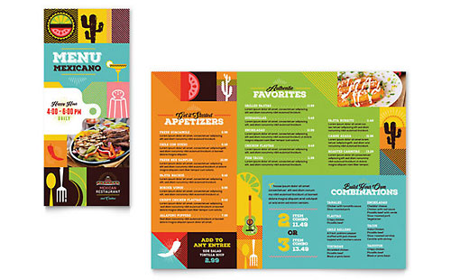 Mexican Food & Cantina Take-out Brochure Template - Microsoft Office