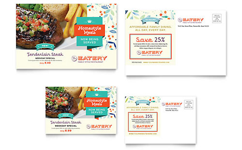 Family Restaurant Postcard Template