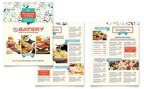 food beverage brochures flyers word publisher templates