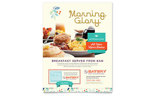 Family Restaurant Flyer Template Design