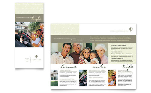 Life & Auto Insurance Company Brochure Template - Microsoft Office