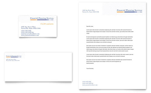 Financial Planning & Consulting Business Card & Letterhead Template - Microsoft Office