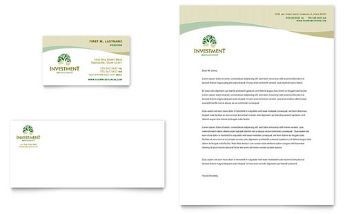 Investment Management Business Card & Letterhead Template - Microsoft Office