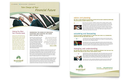 Investment Management Datasheet Template Design