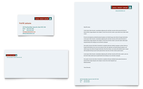 Credit Union & Bank Business Card & Letterhead Template - Microsoft Office