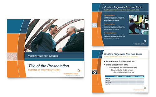 Investment Services PowerPoint Presentation Template Design