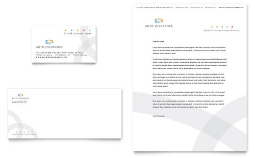 Car Insurance Company Business Card & Letterhead Template - Microsoft Office