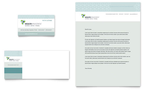 Wealth Management Services Business Card & Letterhead Template - Microsoft Office