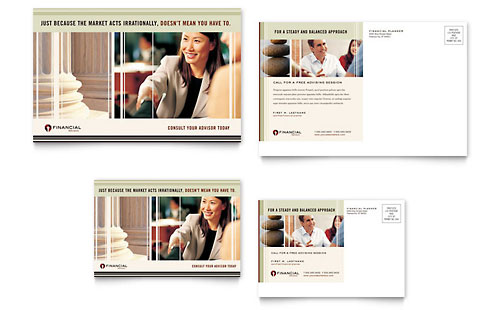 Financial Planner Postcard Template - Microsoft Office
