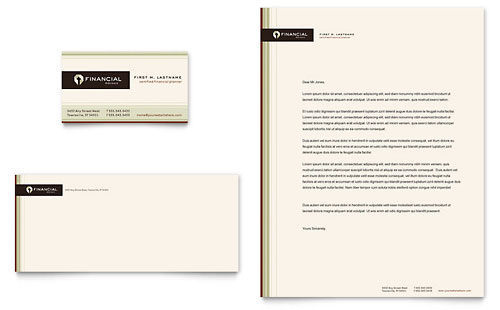 Financial Planner Business Card & Letterhead Template - Microsoft Office