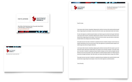 Investment Bank Business Card & Letterhead Template - Microsoft Office