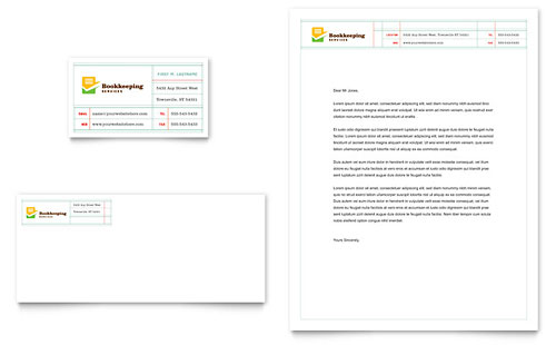Bookkeeping Services Business Card & Letterhead Template - Microsoft Office